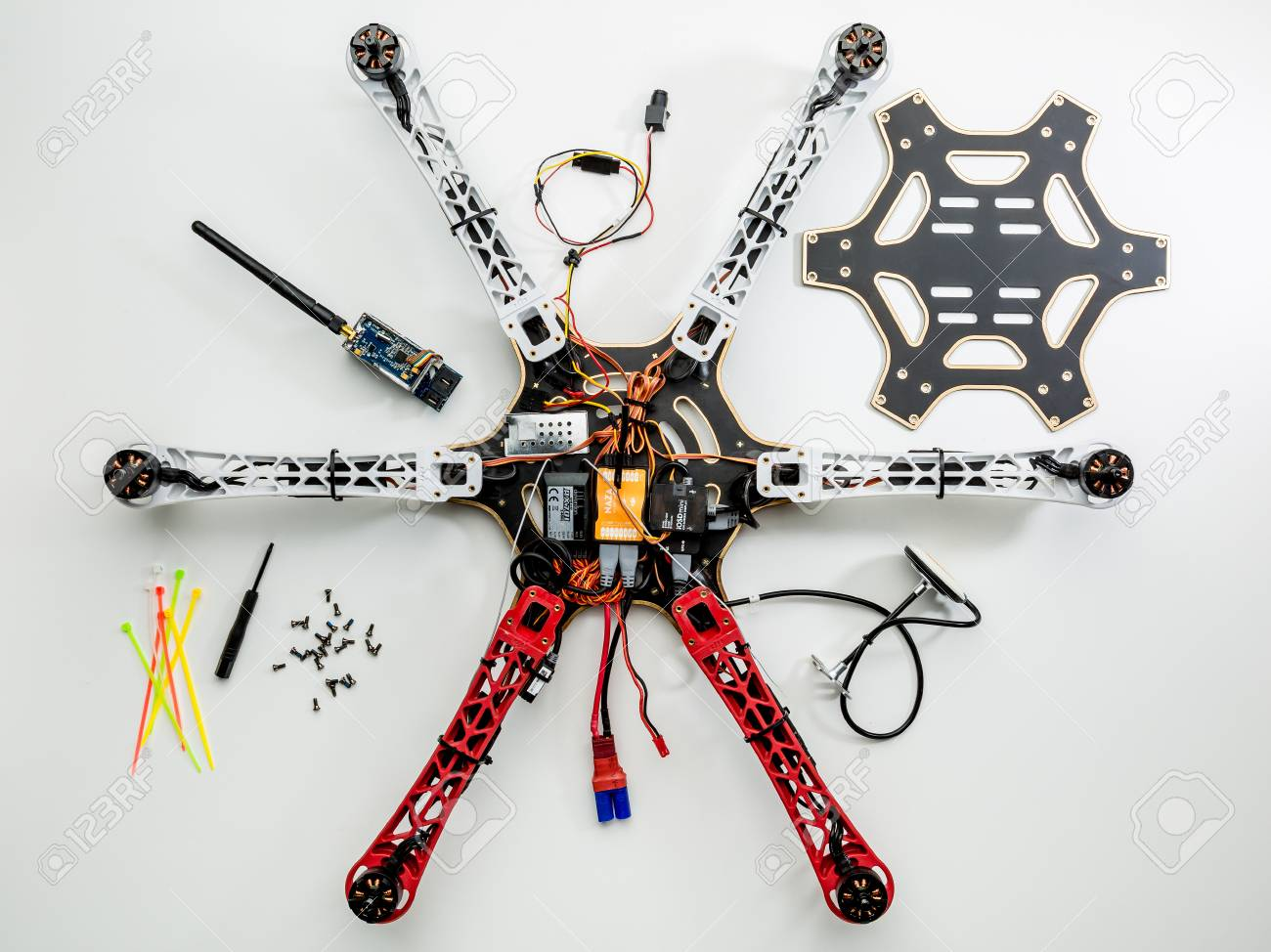 FORT COLLINS, CO, USA, JULY 20, 2015: Assembling a hexacopter