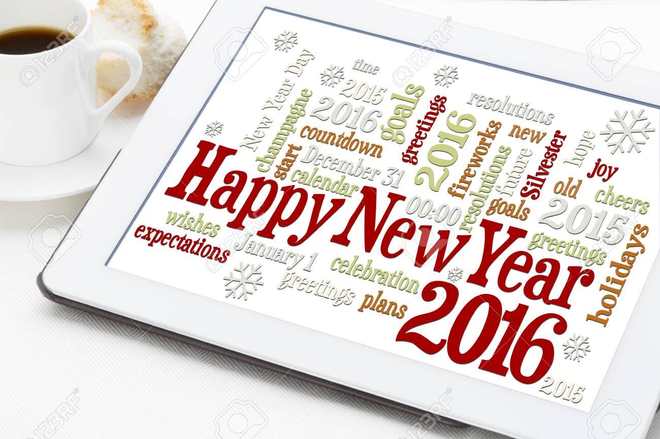 Frohes Neues Jahr 2016 Grüße - Wort Wolke Auf Einer Digitalen ...