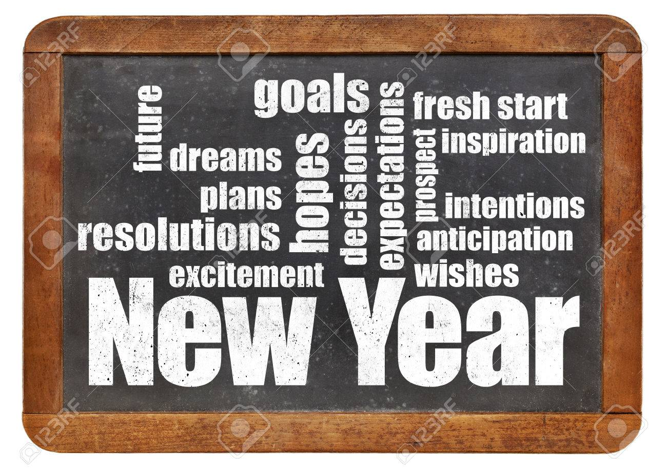 New Year goals. plans and expectations - a word cloud on a vintage slate blackboard Stock Photo - 46177252