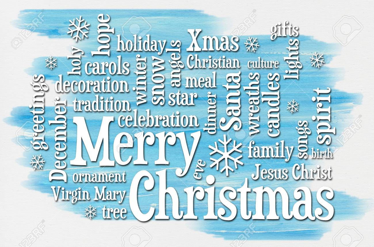 Merry Christmas Greetings Word Cloud A Greeting Card Or Banner
