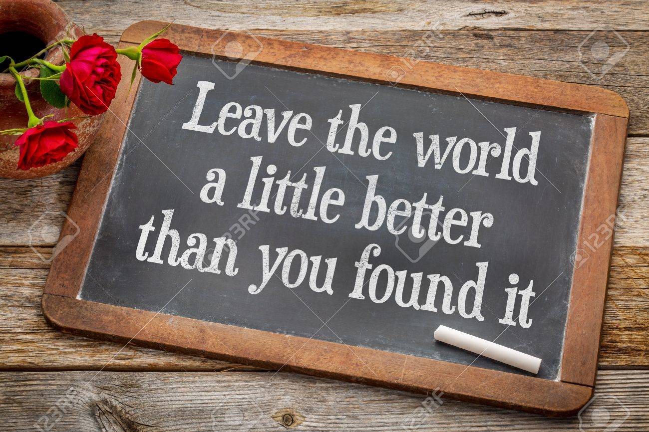 Leave the world a little better than you found it - life purpose and meaning concept  - white chalk text on a vintage slate blackboard with red roses against rustic wood Stock Photo - 47607693