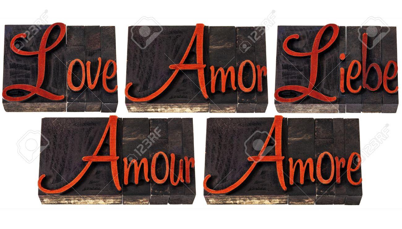 Liefde Woord In 5 Talen Engels Spaans Duits Frans En Italiaans Een Collage Van Geïsoleerde Tekst In Vintage Boekdruk Hout Soort Afdrukken