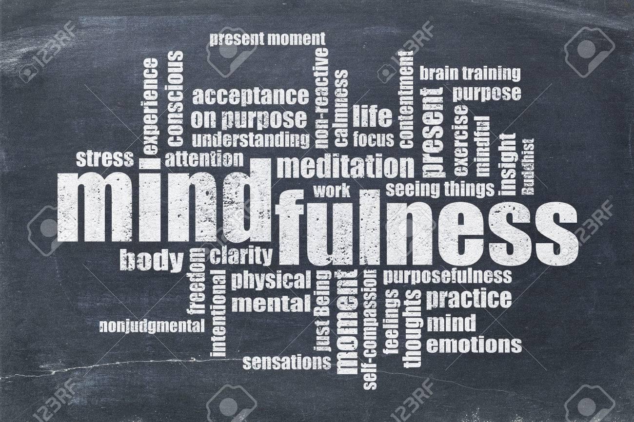 mindfulness word cloud in white chalk on a vintage slate blackboard Stock Photo - 50877168