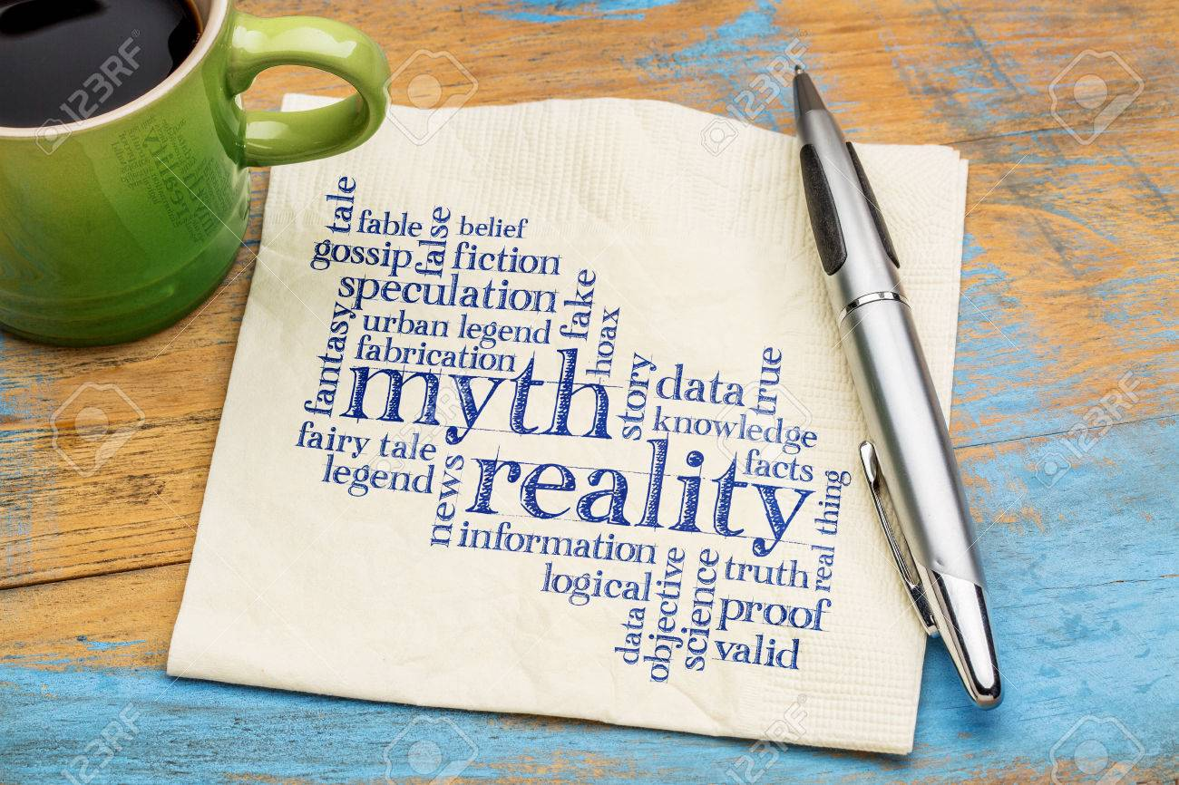 myth versus reality word cloud - handwriting on a napkin with cup of coffee - 57997743