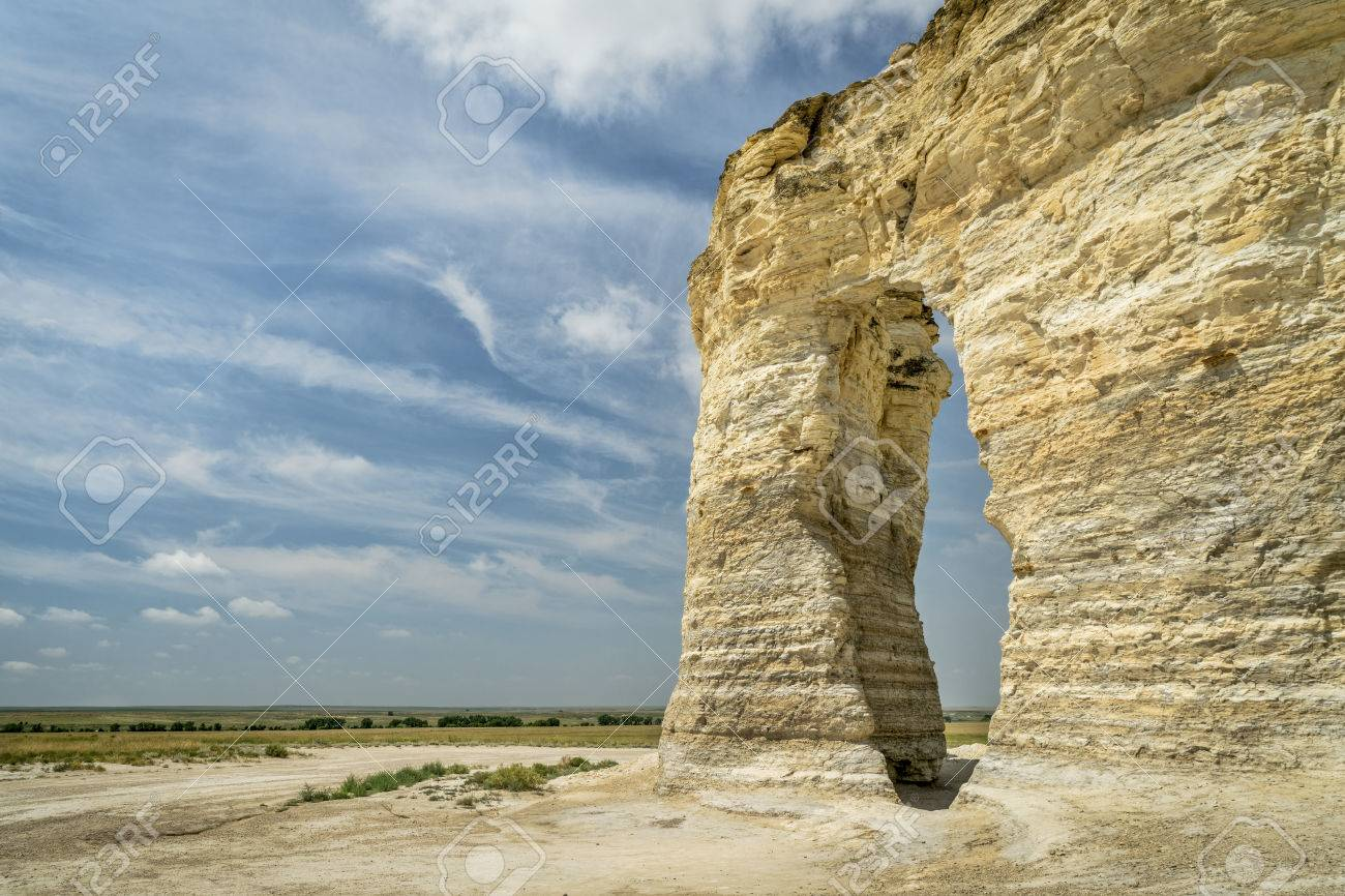 chalk formations at Monument Rocks National Natural Landmark in Gove County, western Kansas - 62504318