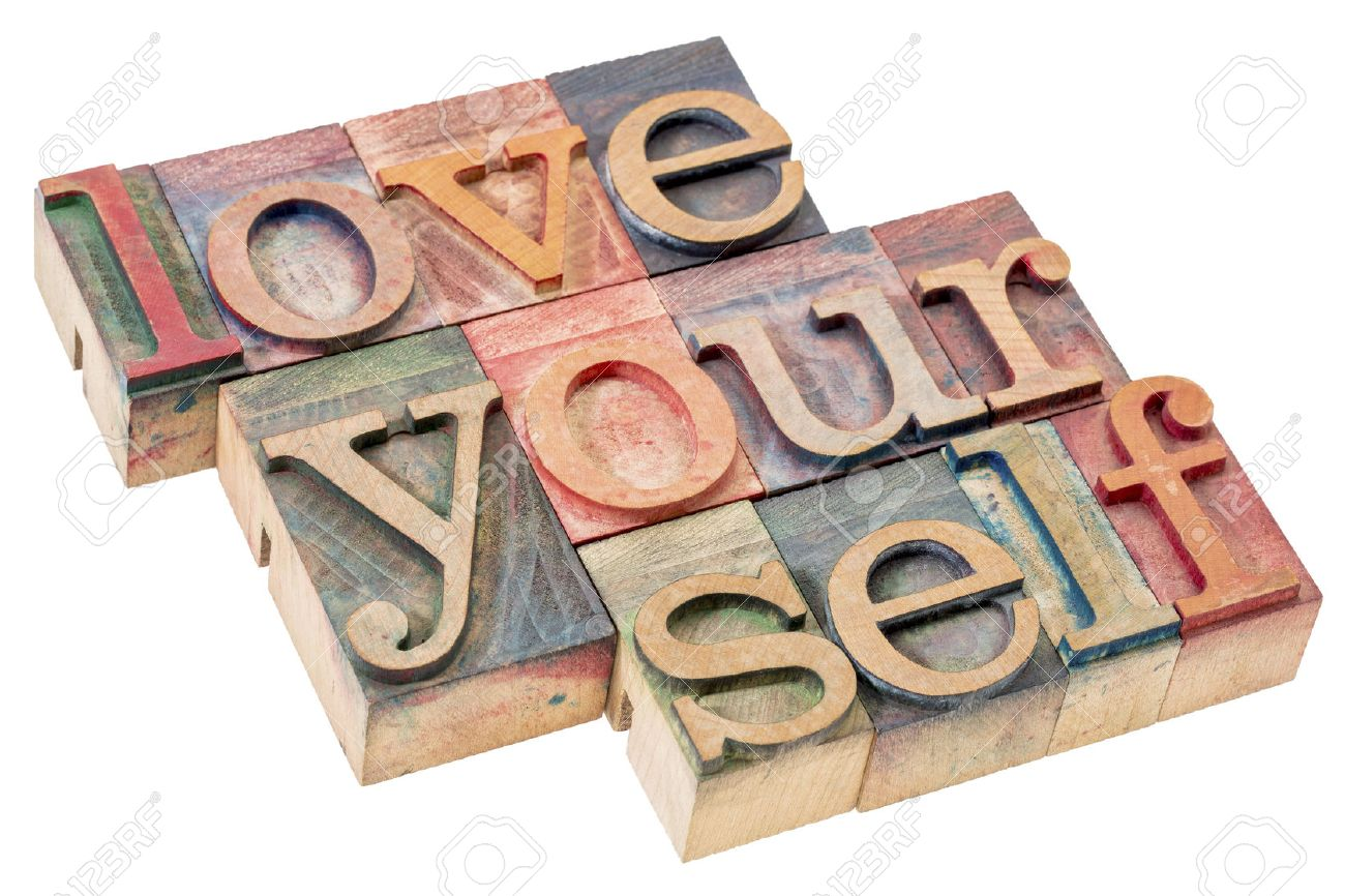 love yourself - self esteem concept - isolated text in vintage letterpress wood type printing blocks - 63293912
