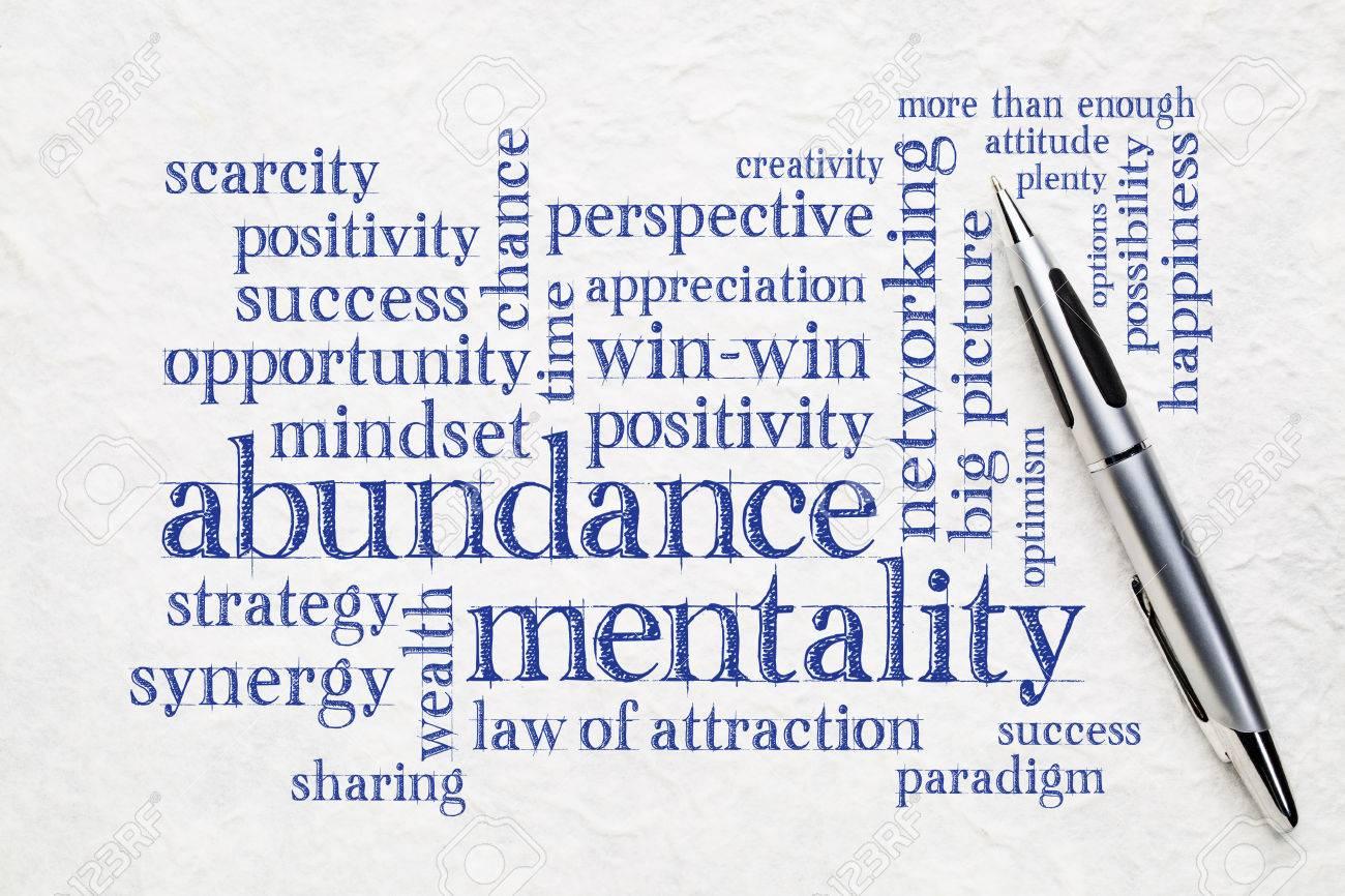 abundance mentality word cloud on a textured lokta paper wit a pen - 81554415