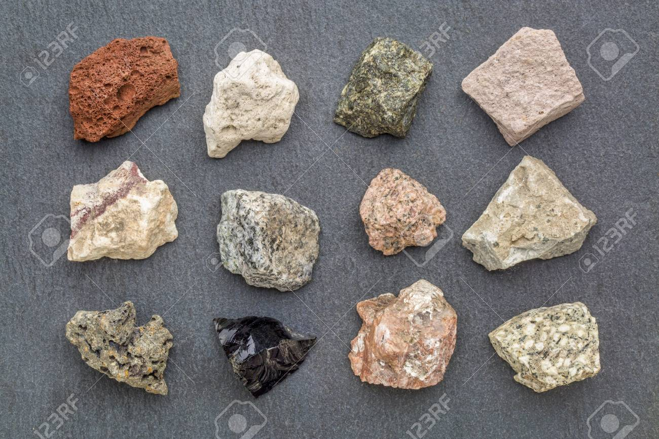 Igneous Rock Geology Collection From Top Left Scoria Pumice