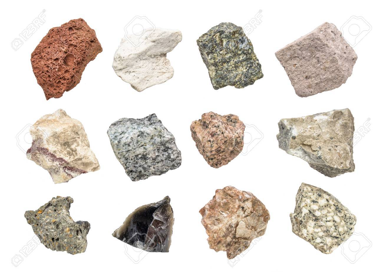 isolated igneous rock geology collection including from top left: scoria, pumice, gabbro, tuff, rhyolite, diorite, granite, andesite, basalt, obsidian, pegmatite, porphyry - 88248918