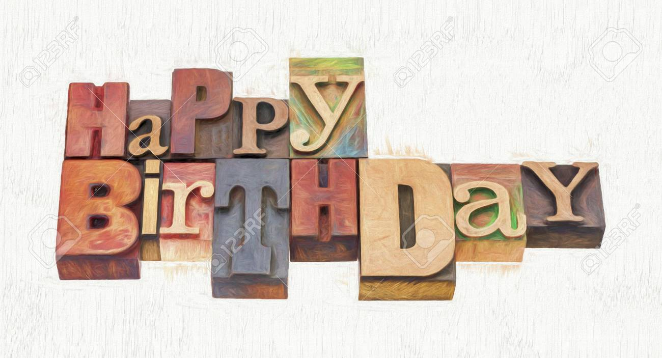 Happy birthday greeting card word abstract in vintage mixed happy birthday greeting card word abstract in vintage mixed letterpress wood type with a digital m4hsunfo