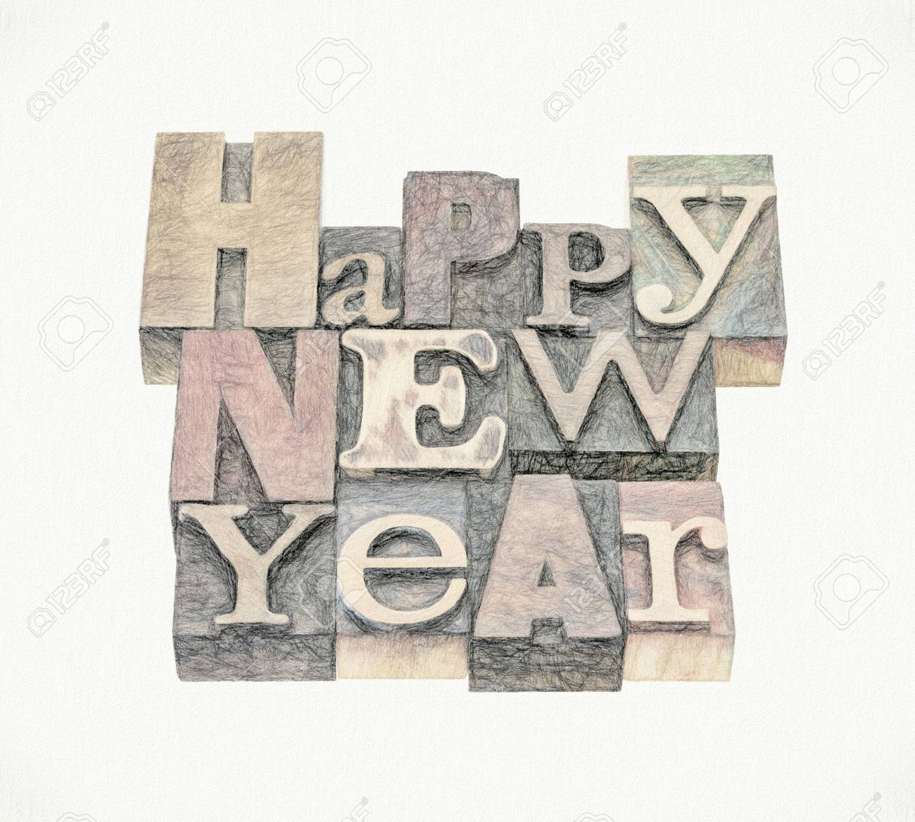 happy new year greeting card text in mixed vintage letterpress wood type blocks with a