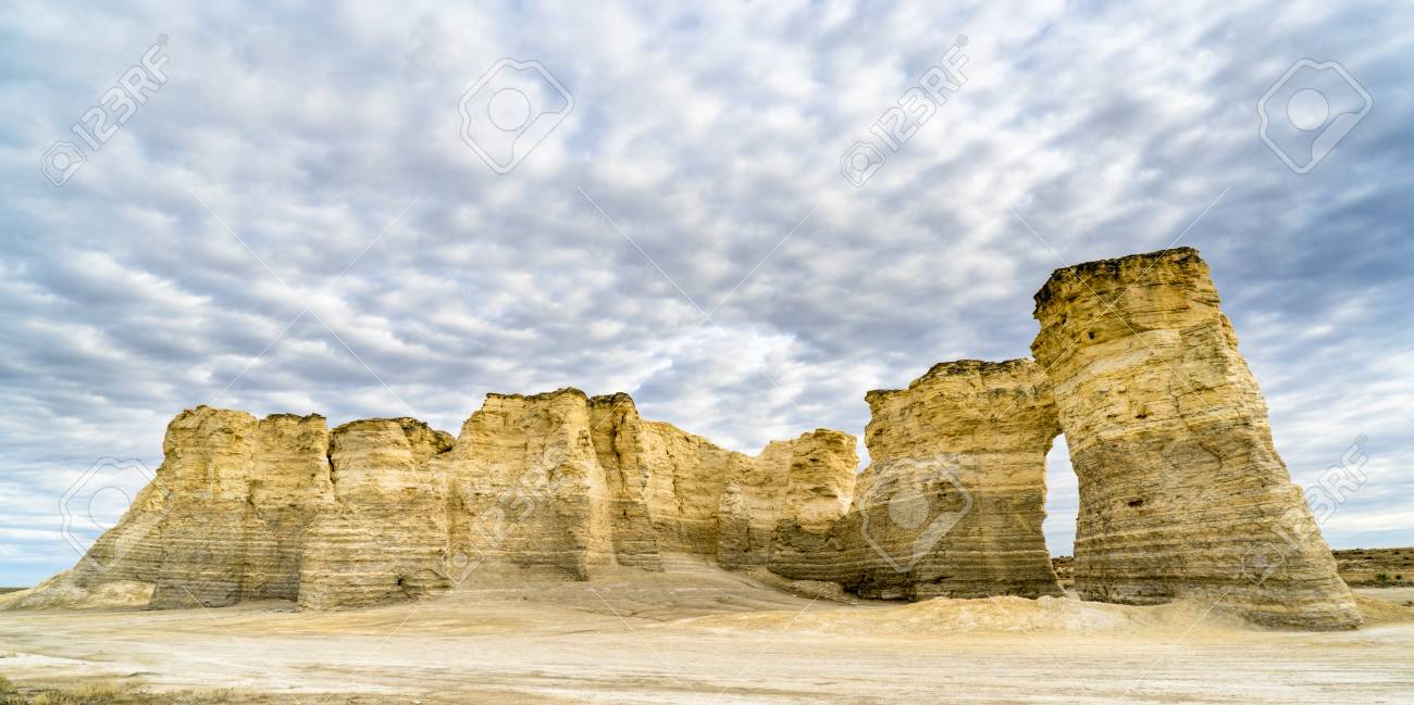 Panorama Of Monument Rocks Chalk Pyramids In Western Kansas Stock Photo Picture And Royalty Free Image Image 97534038