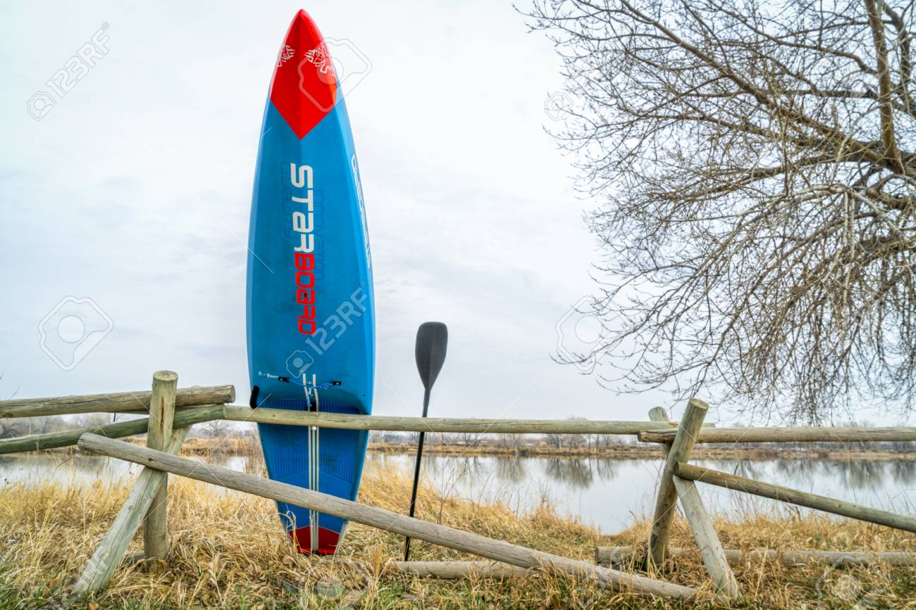 Fort Collins, CO, USA - April 7,2018: A racing stand up paddleboard