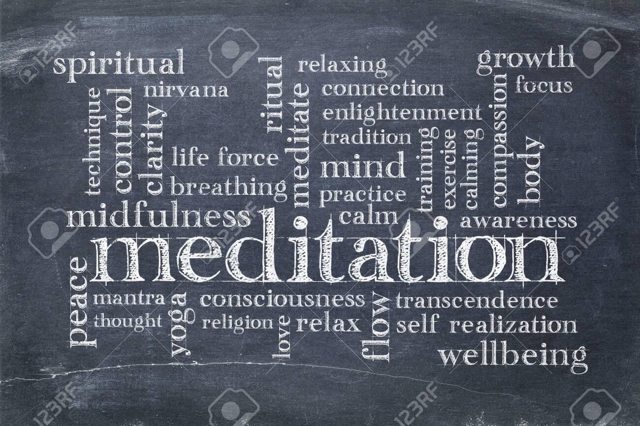meditation word cloud on a vintage slate blackboard with white chalk smudges - 121786349