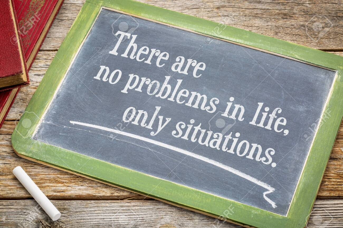 There are no problems in life, only situations - white chalk text on a slate blackboard. - 123049944