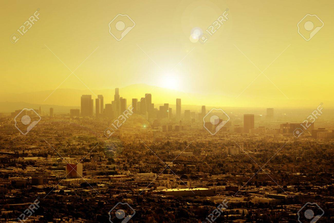 Sunrise soaks Los Angeles for another sunny day in warm Southern California. Stock Photo - 2434262