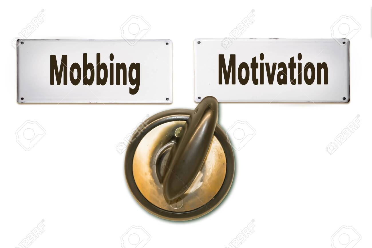 Street Sign the Direction Way to Motivation versus Mobbing - 134094036
