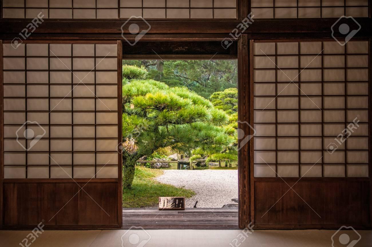 Japanese Garden And Pine Tree Seen Through Sliding Door. Stock Photo ...