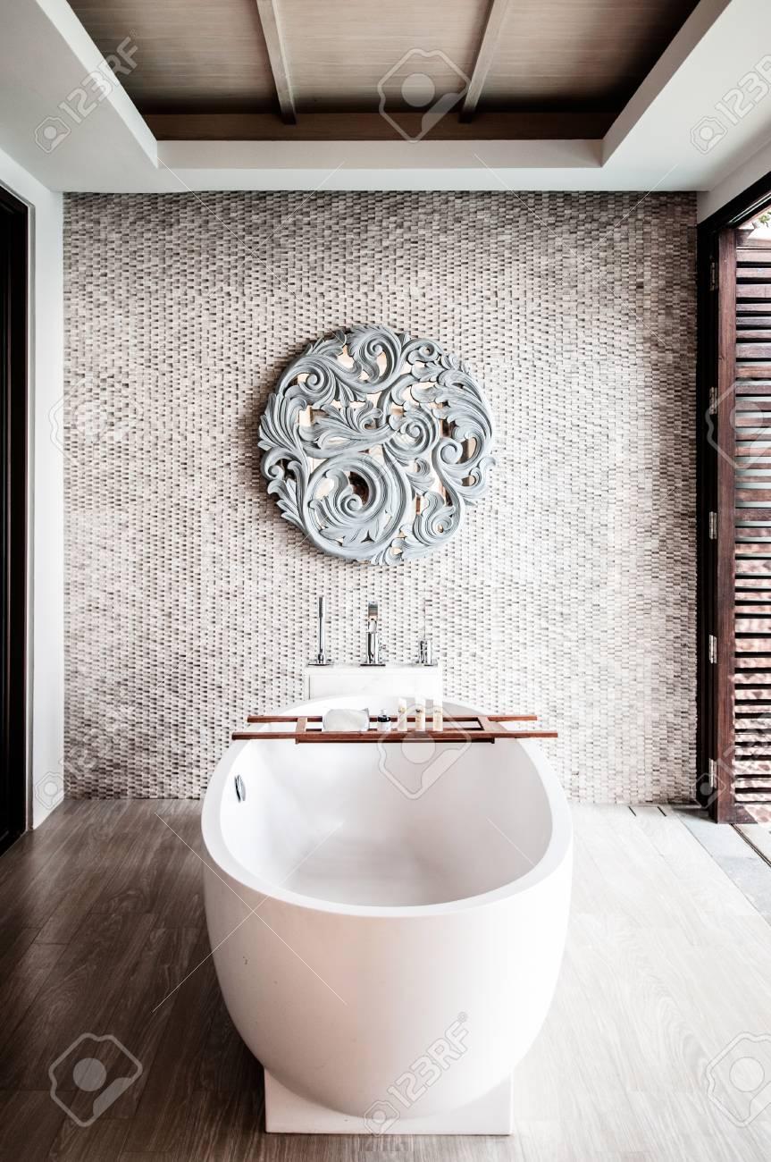 MAR 28 2014 Phuket Thailand White Terrazzo Bathtub In Luxury Resort Style Bathroom