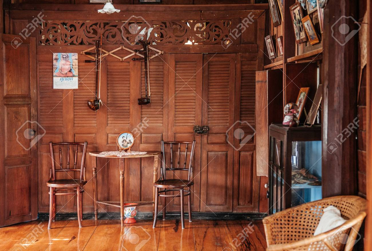 MAR 1, 2018 Uthaithani   Thailand : Rustic Wooden Vintage Country House  Interior Concept Decoration