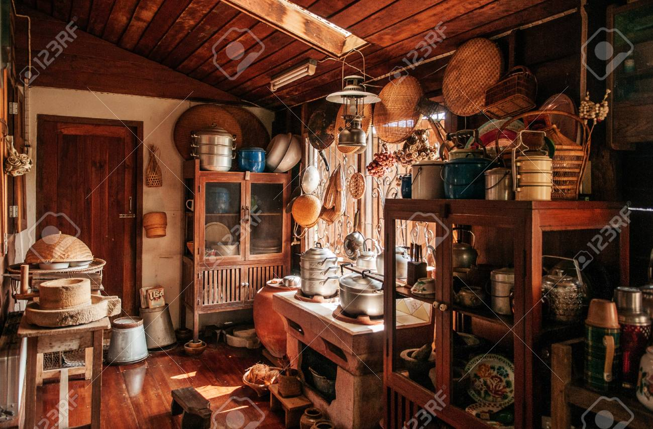 MAR 1, 2018 Uthaithani   Thailand : Rustic Wooden Vintage Kitchen In  Country House Interior