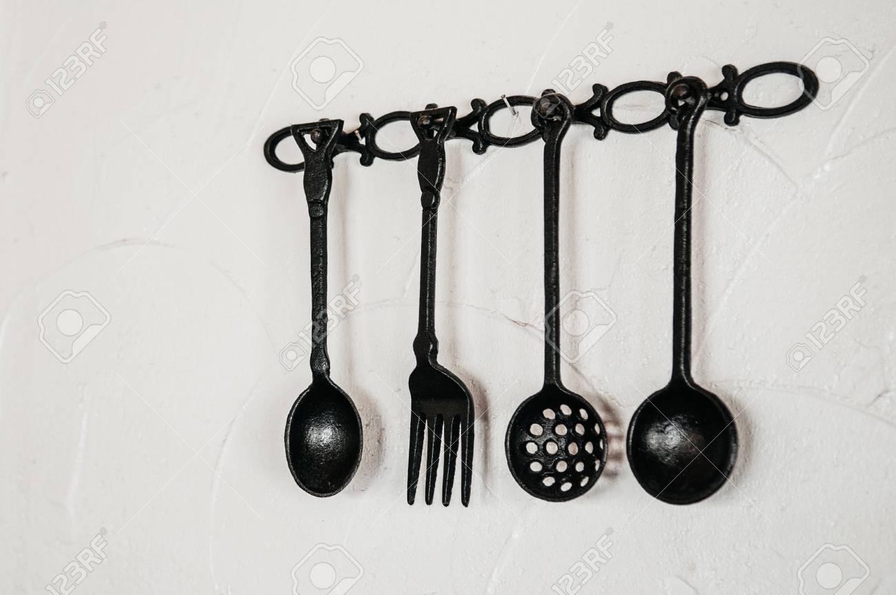 Antique Kitchen Utensils   Old Kitchen Cutlery Silverware Restaurant Decoration With Vintage