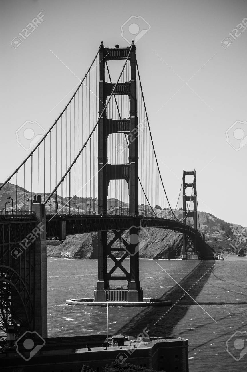 Golden Gate Bridge In Black And White Photo Shot From San Francisco