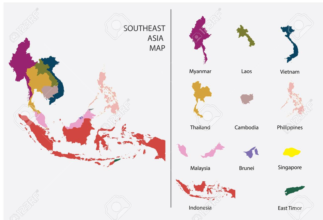 Picture of: Southeast Asia Map Graphic Vector Separated Isolated Country Royalty Free Cliparts Vectors And Stock Illustration Image 126958073