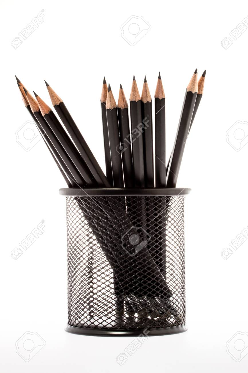 Black Pencil Holder With Pencils Isolated On White Background Stock ...