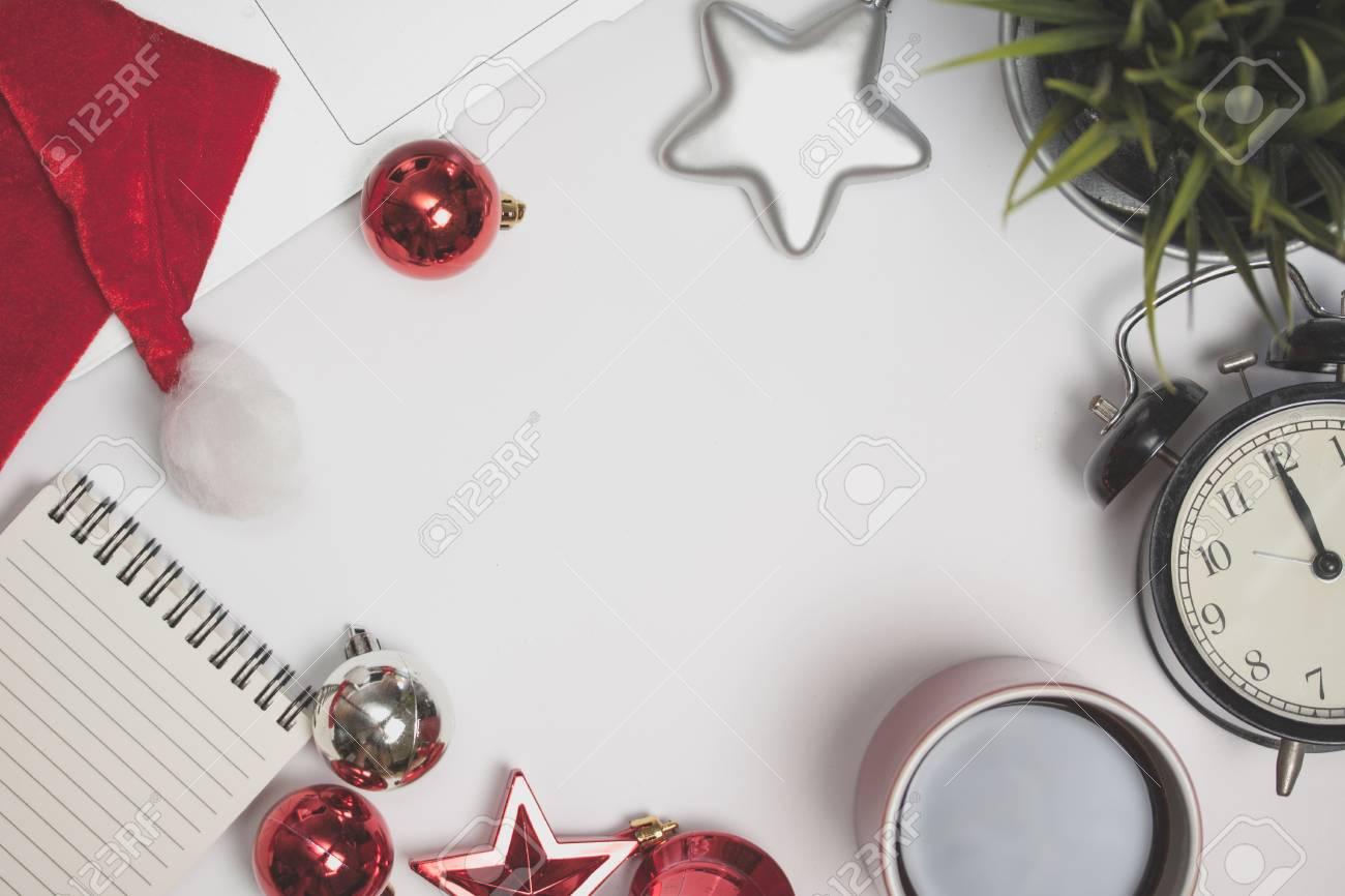 Christmas Top View.Merry Christmas Table Mockup Top View Of Christmas Concept On