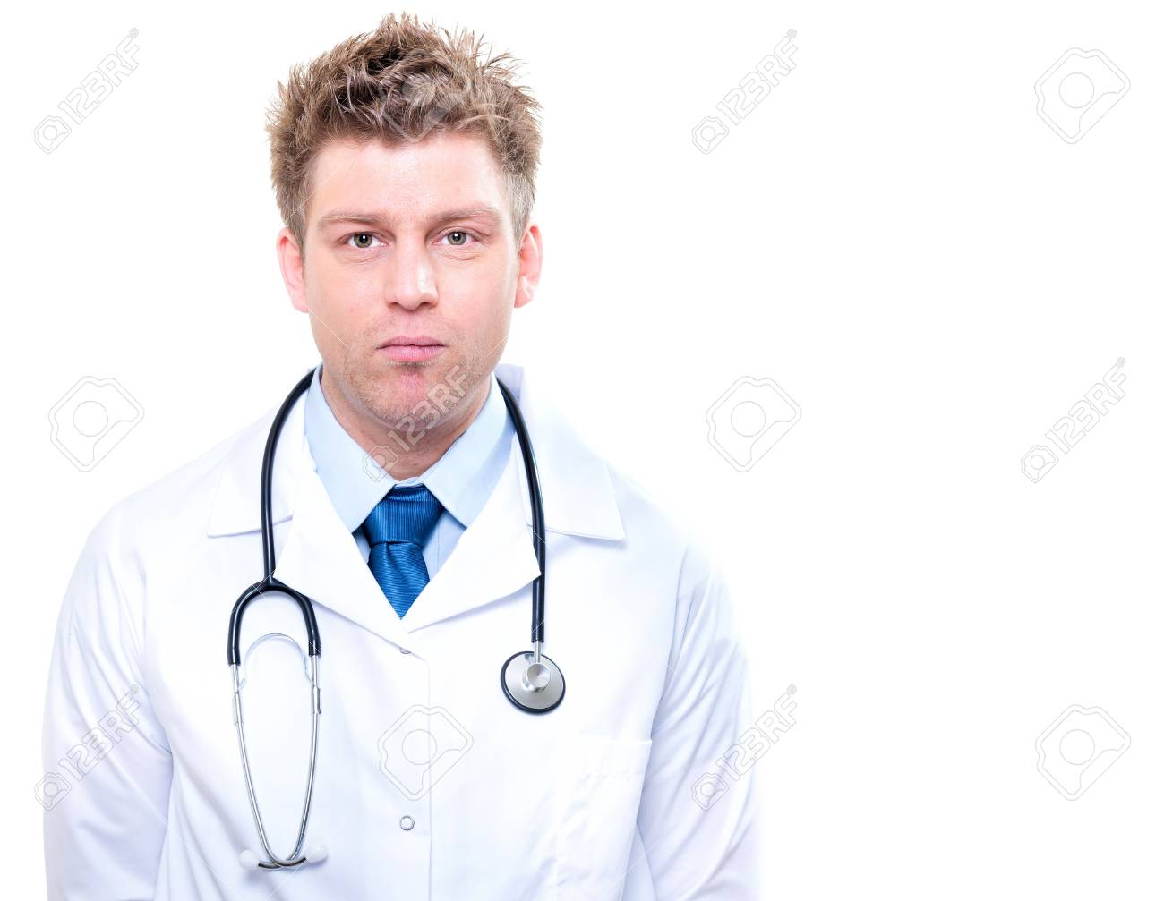 cherfull male doctor with stethoscope Stock Photo - 17794983