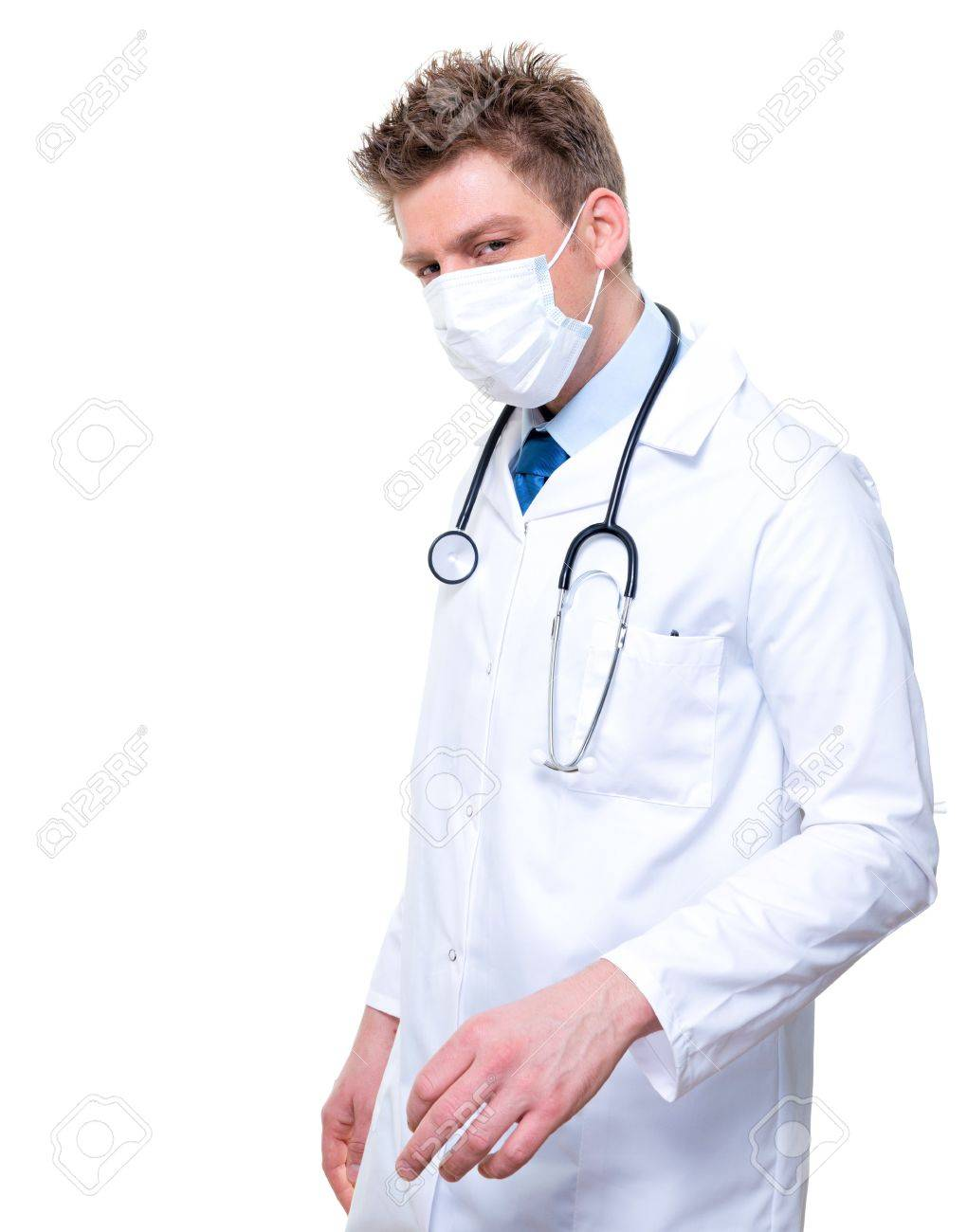 Wearing Nurse Male Or Surgical Doctor Mask