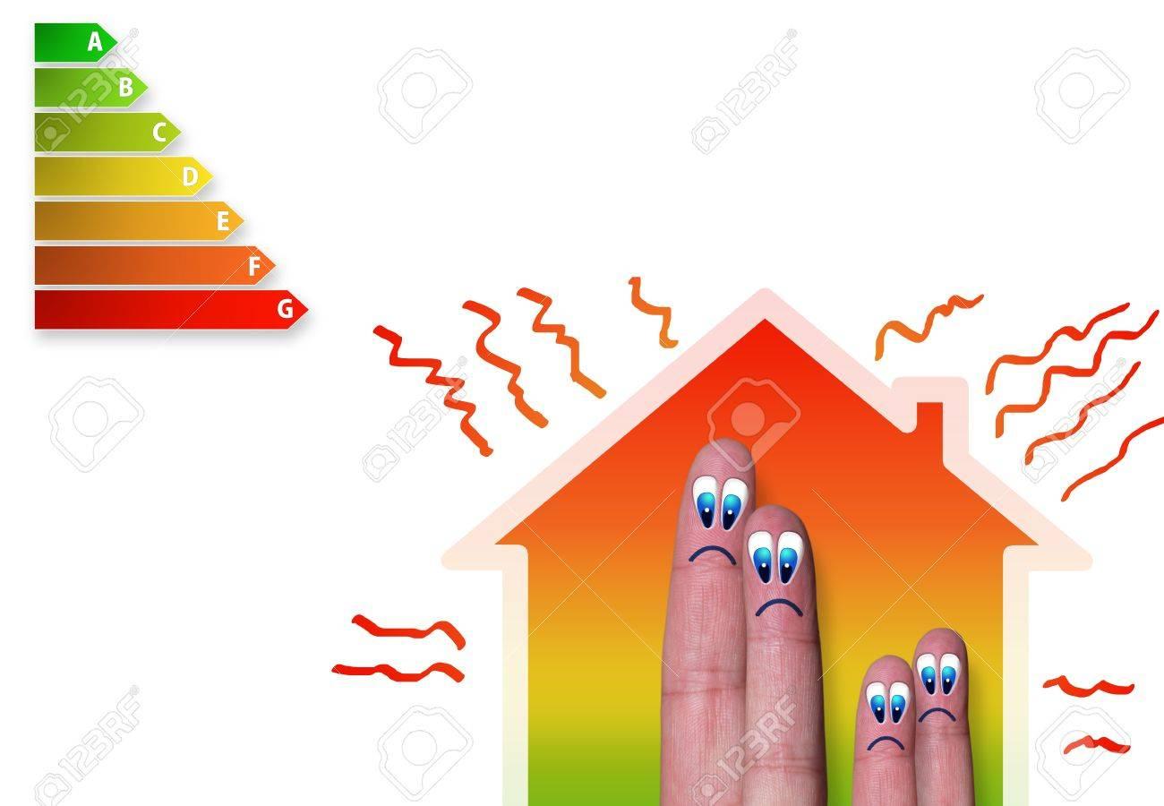 finger einfamilienhaus mit schlechten energie-klassifizierung und