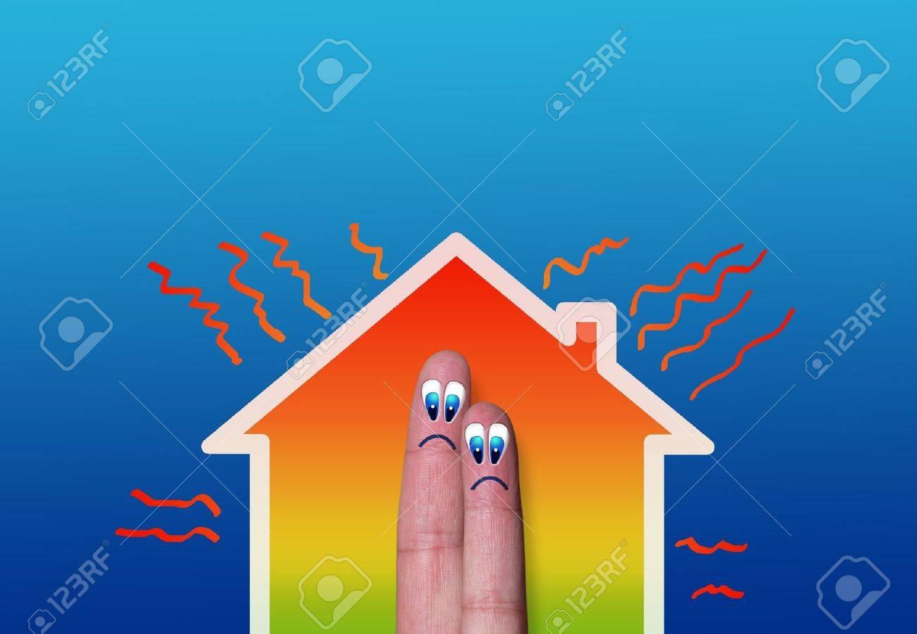 haus mit hohem wärmeverlust darstellung, wo zwei finger in auf
