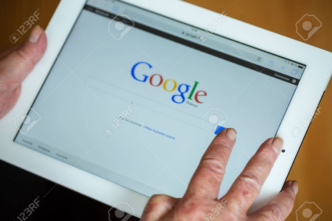 Admirable Paris France April 27 2015 Senior Woman Using Tablet With Beutiful Home Inspiration Semekurdistantinfo