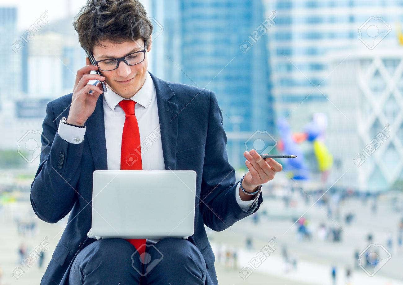 Dynamic Young Executive Calling Outside, Free Of Any Constraint ...