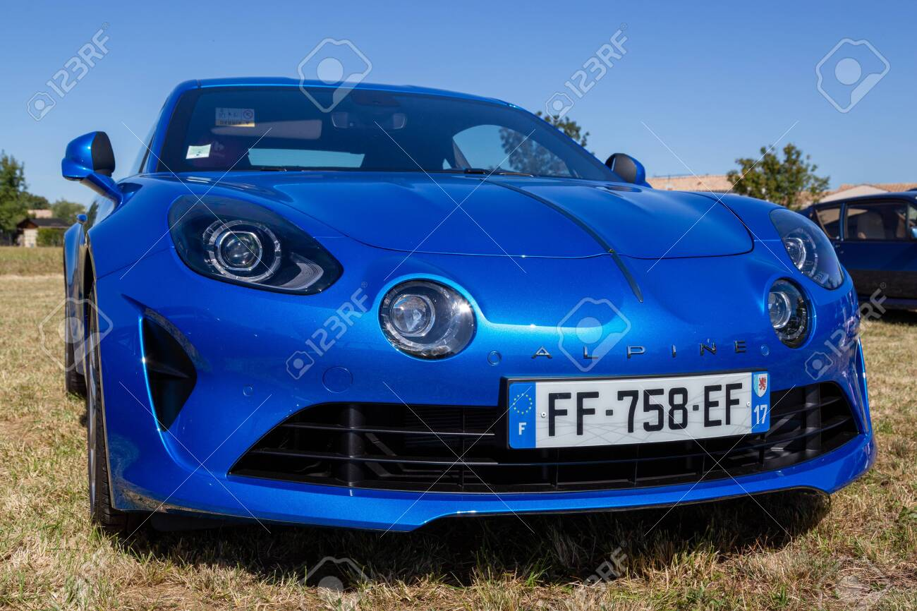 Benon, France - September 9, 2020: blue new Renault Alpine A110 car exhibited at the tour de france in small village contryside - 156570891