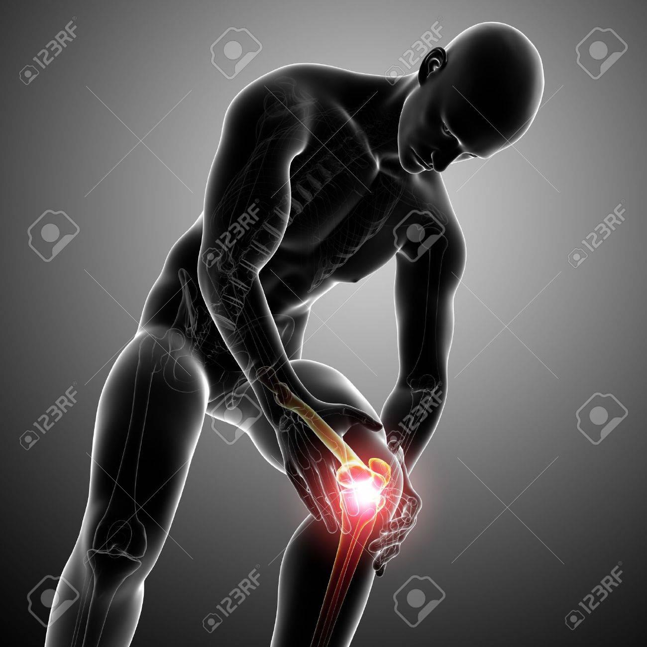 Anatomy of male knee pain in gray Stock Photo - 13757775