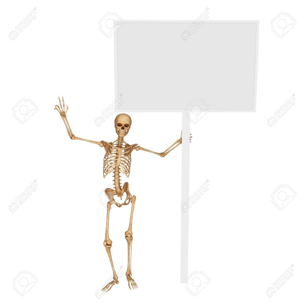 skeleton standing below sign Stock Photo - 15123231