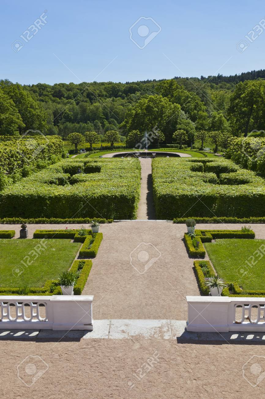 Castle garden with terrace and with trimmed trees and bushes Stock Photo - 13316056