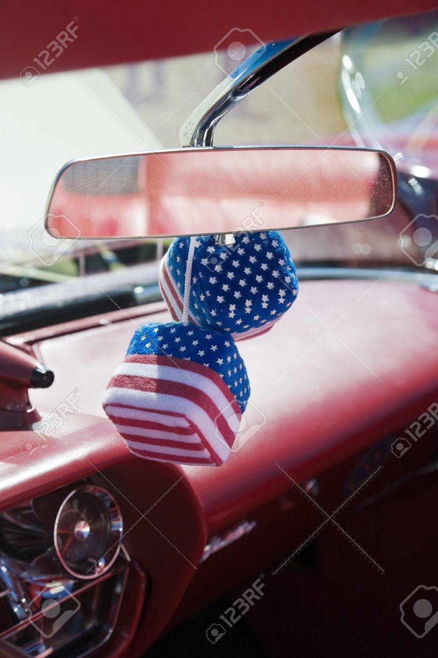 Car dice with american flag Stock Photo - 17456361