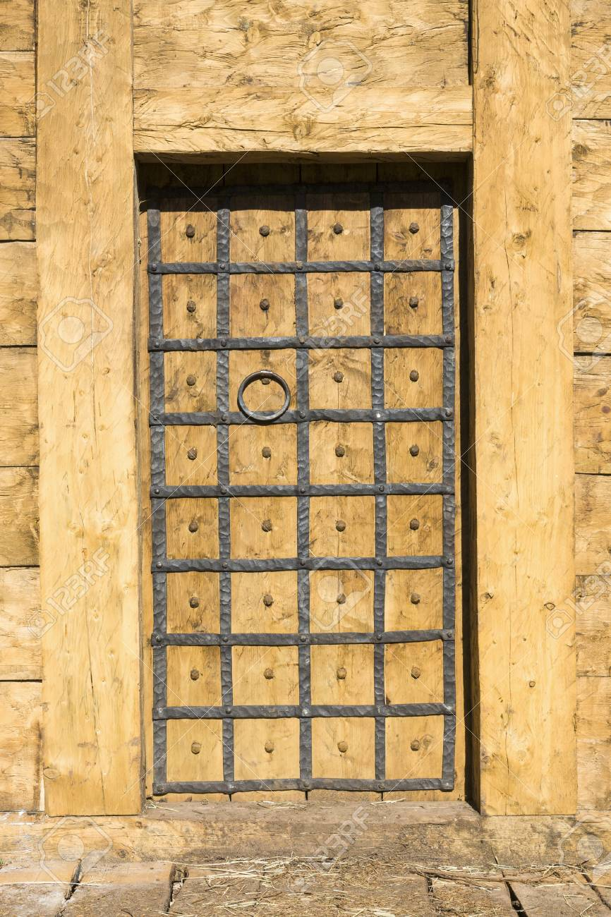 Old Door With Wrought Iron Decorations Stock Photo, Picture And ...