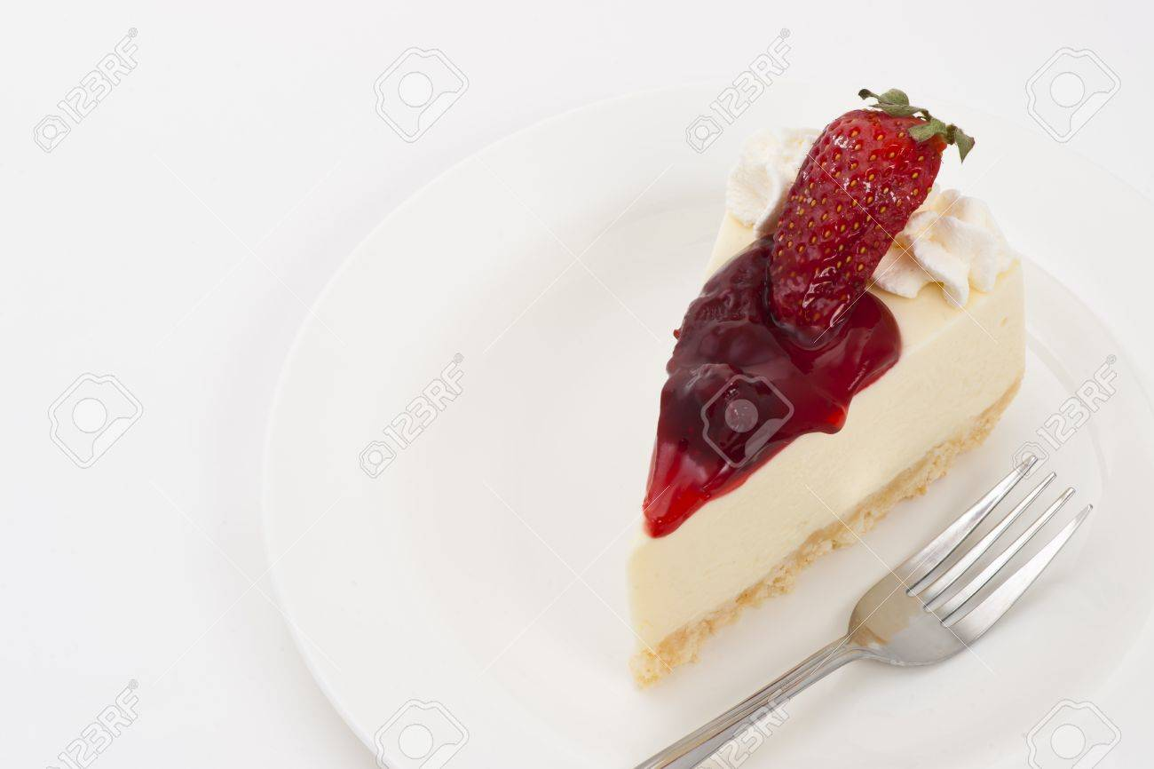 Strawberry Cheesecake on plate and white background Stock Photo - 10860935