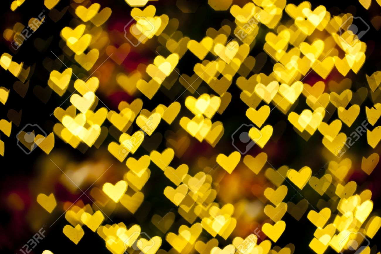 Blurred Of Heart Shape Christmas Light Can Be Used As Background Stock Photo