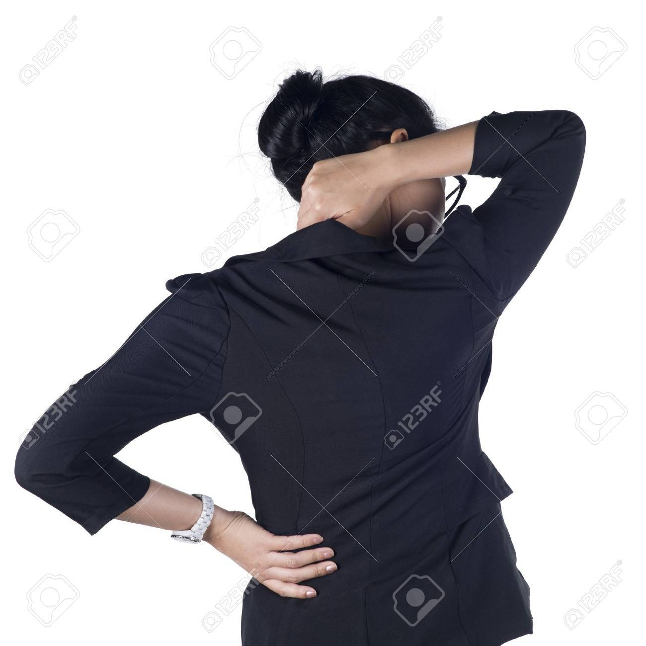 Business woman with back pain isolated white background, Model is Asian woman. Stock Photo - 17158093