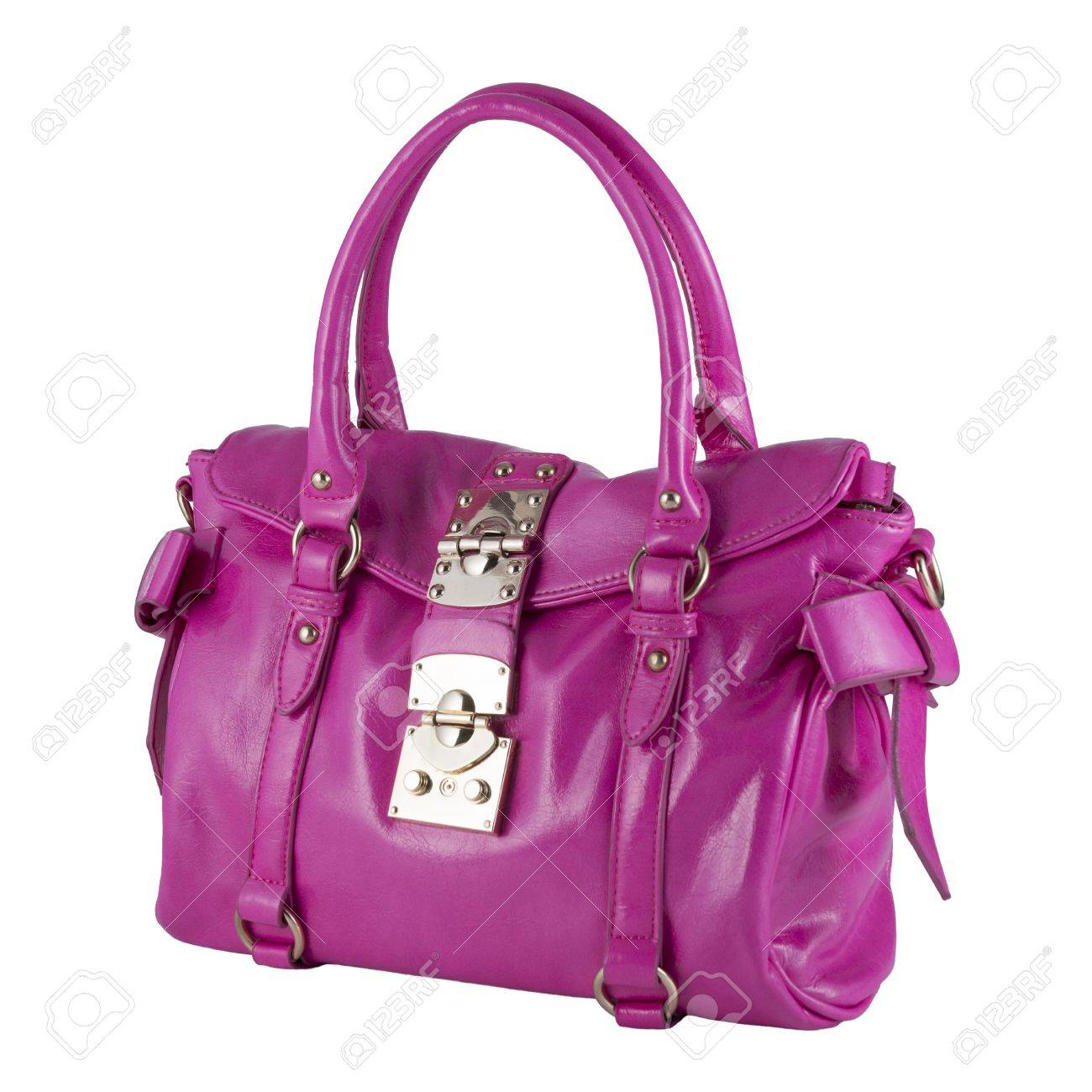 Woman S Handbag Pink Color Isolated Over White Stock Photo Picture