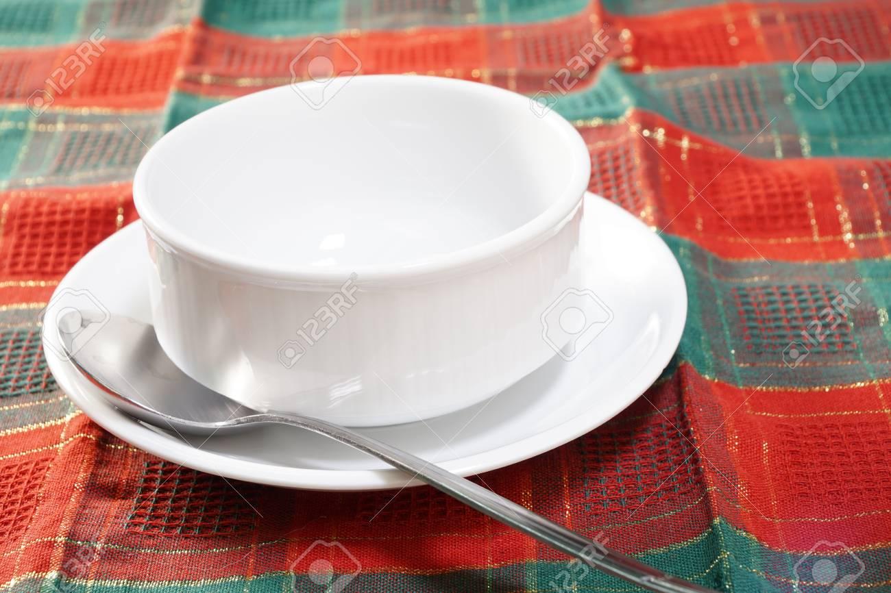 Unique Empty White Ceramic Soup Bowl. Stock Photo, Picture And Royalty  QL31
