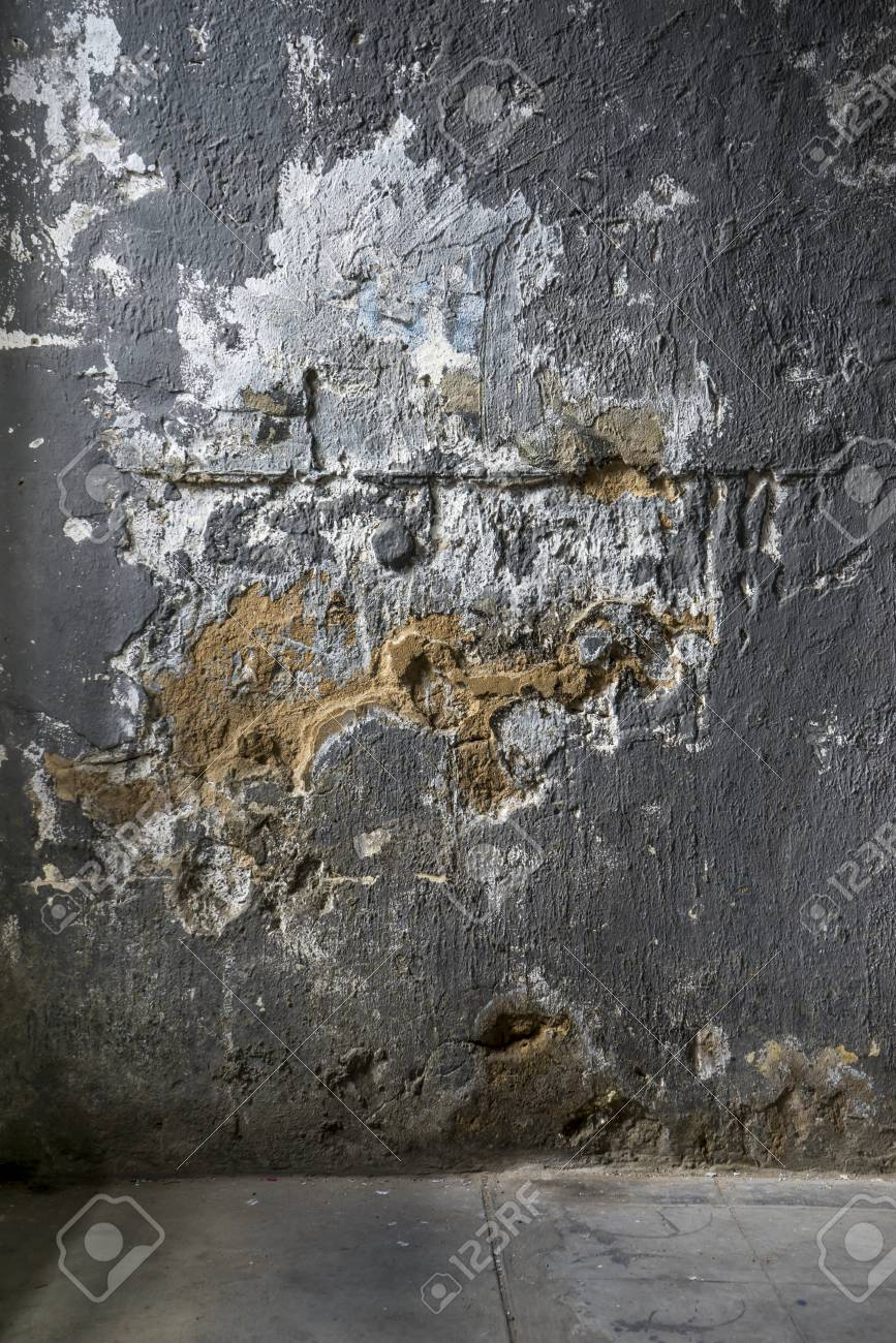 Old Damaged Concrete Wall With Cracked Paint Relief Background