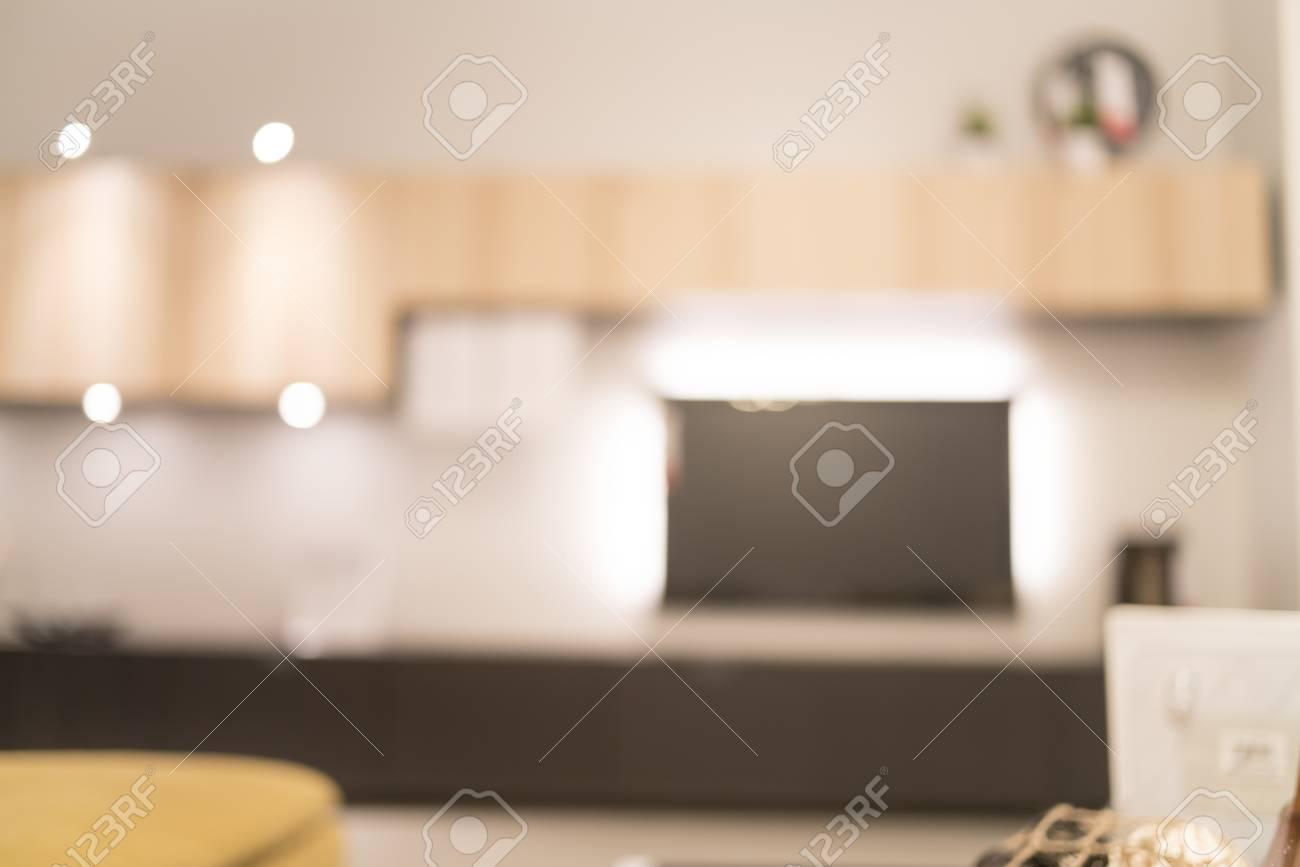 Standard Bild   Unscharfes Bild Wohnzimmer Für Hintergrund Anwendungen