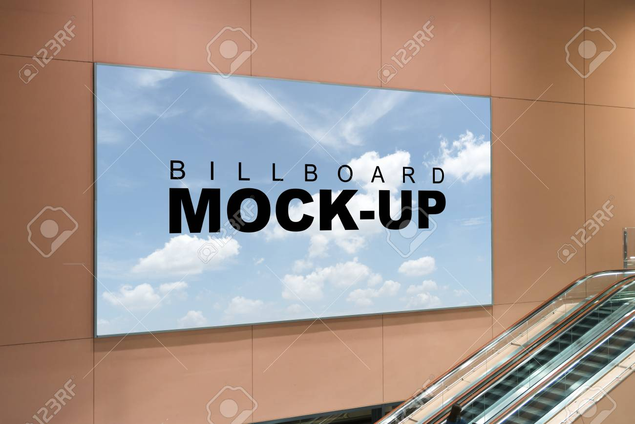 Advertising Mock Up With Sky Background Billboard Indoors Of